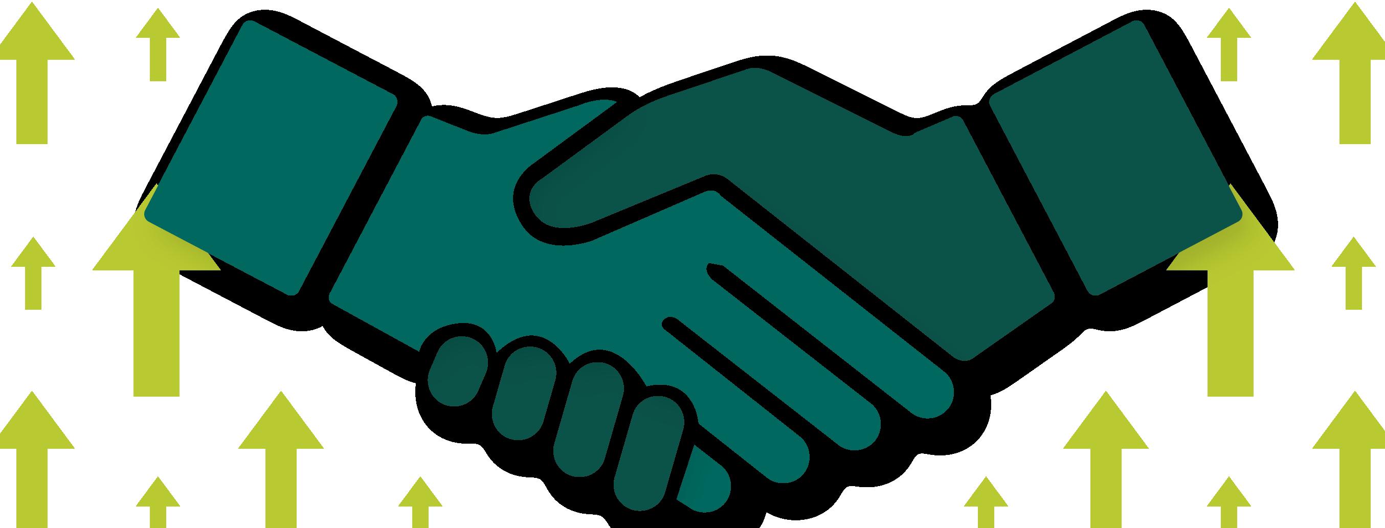 Illustration of shaking hands.