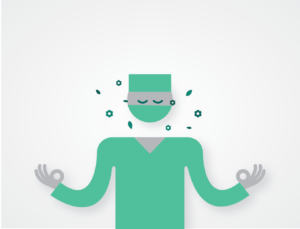 Illustration of a person in scrubs focusing on pleasant smells