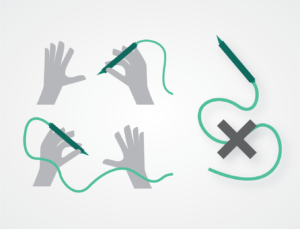 Illustration of left-handed person having issues using surgical tool