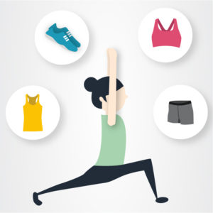 Illustration of woman doing yoga and thinking about workout clothing.